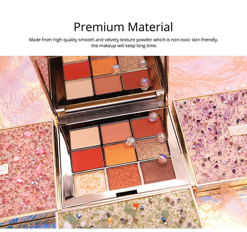 9 Colors Eyeshadow, Palette Glitter Velvet Texture Mixed Eye Makeup, Long Lasting Eye Shadow Tray Best Gift for Women 4