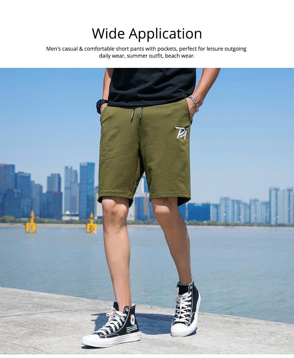 Men Summer Short Pants with Pockets, Causal Beach Shorts with Elastic Waist Drawstring, Lightweight Loose Shorts 5