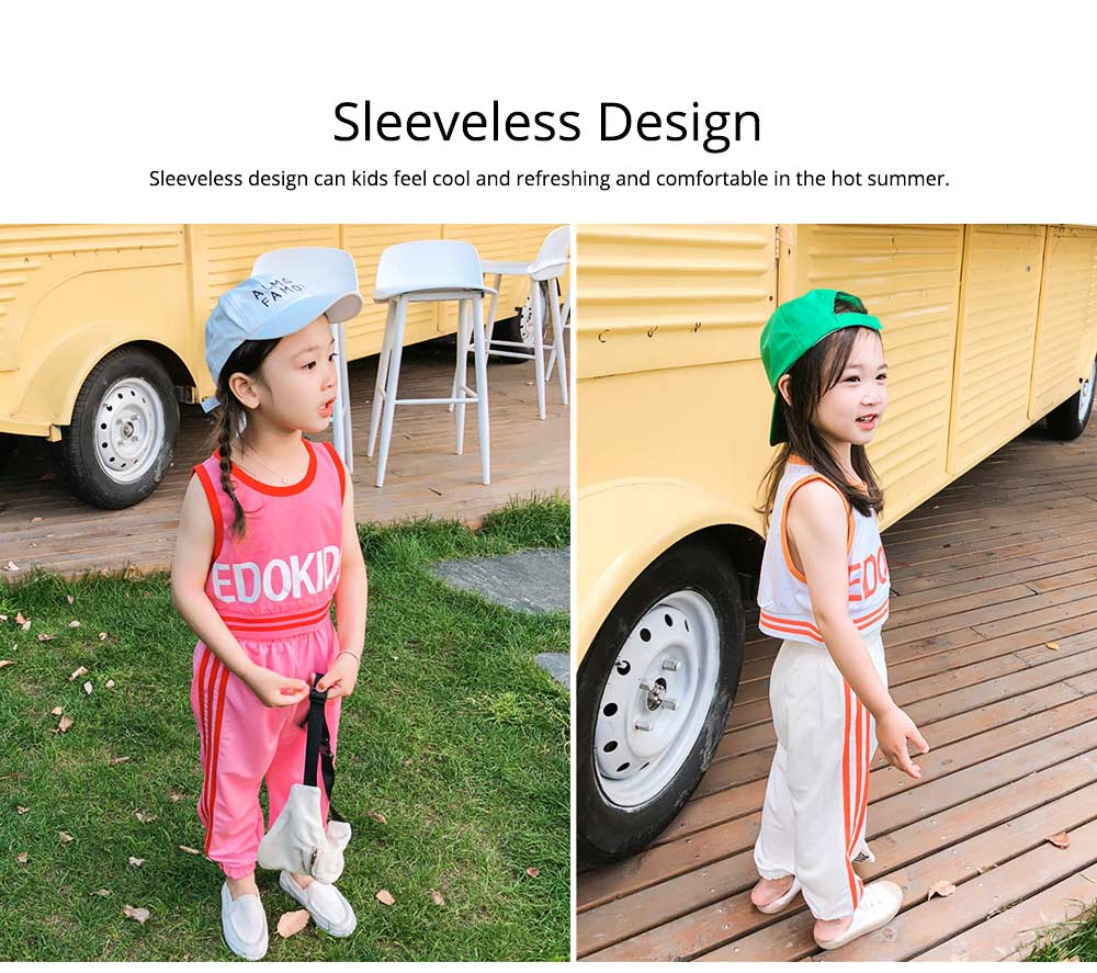 Children's Summer Suits, Printed Vest & Slacks 2-piece Set, Girls Sleeveless Top with Trousers 1