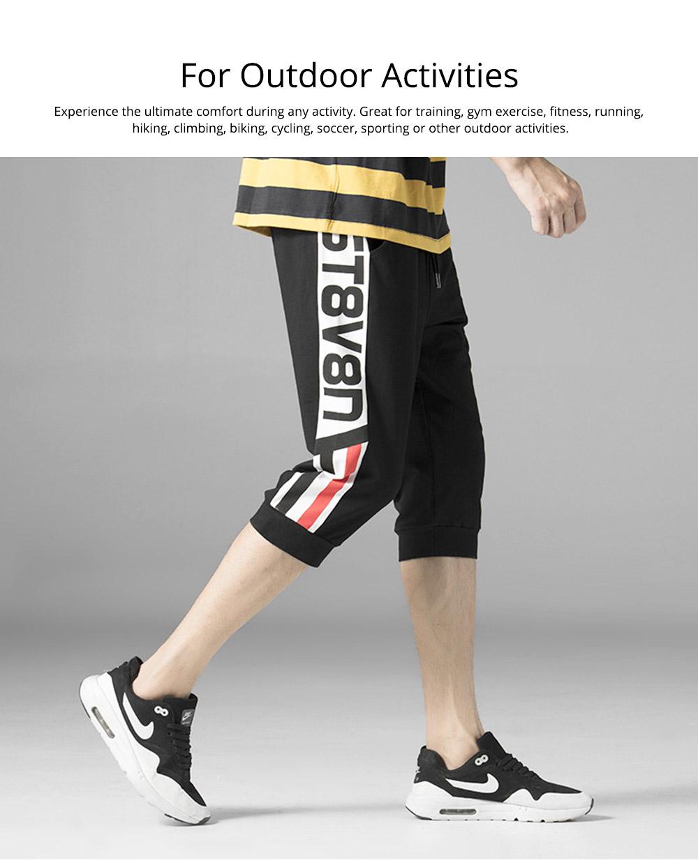 Men's Cotton Casual Shorts, Jogger Capri Pants, High Breathable Summer Short Pants with Drawstring Pockets 5
