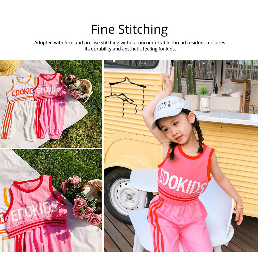 Children's Summer Suits, Printed Vest & Slacks 2-piece Set, Girls Sleeveless Top with Trousers 4