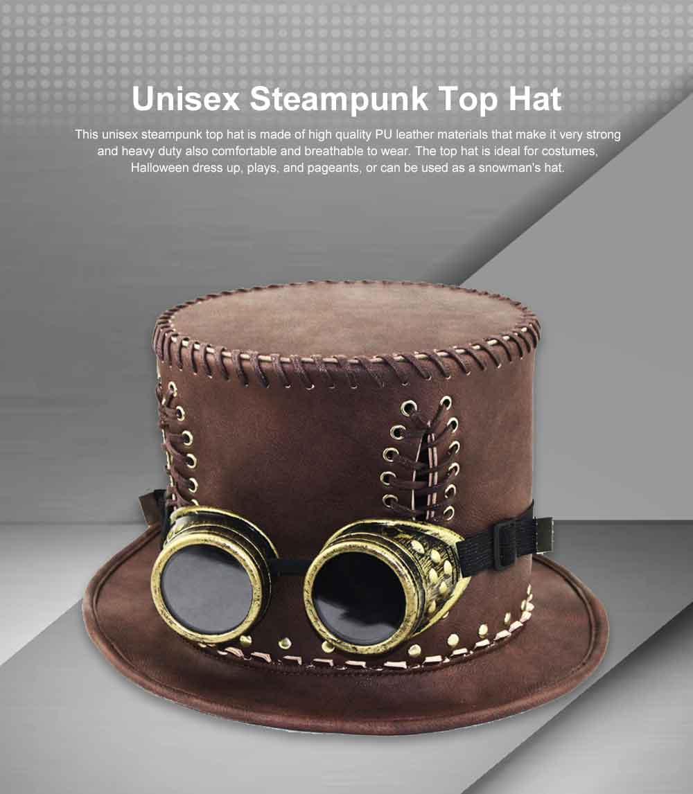 Unisex Steampunk Top Hat Retro Punk Rustic PU Leather Lace Up Punk Gentleman Hat for Costumes, Halloween Party 0