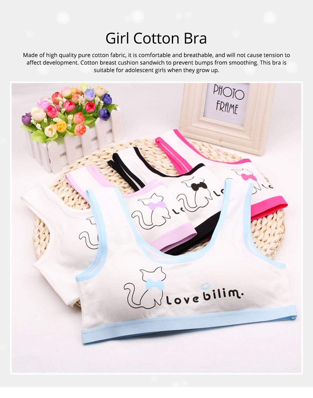 Girl Cotton Bra, Girl Developmental Vest, Wrap Your Chest With A Chest Pad For Junior And Senior High School Students 0