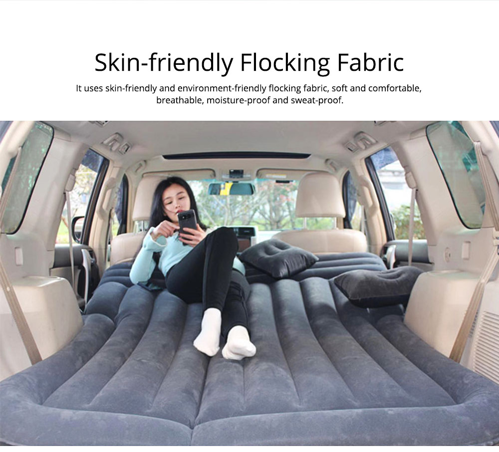 Rear Car Inflatable Bed, Inflatable Travel Car Mattress Air Bed Back Seat Sleep Rest Mat with Pillow 1