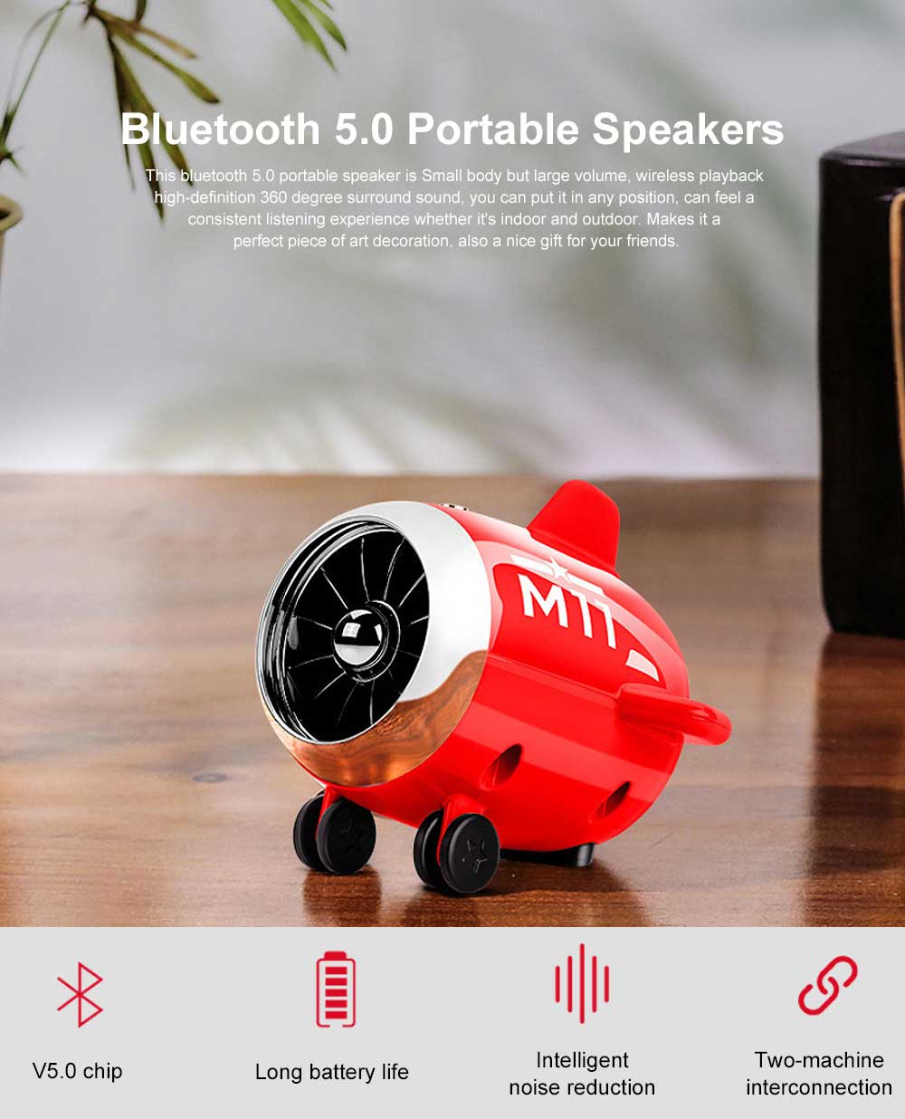 Bluetooth 5.0 Portable Speakers Cute Airplane Shape Mini Bluetooth Wireless Speaker with TWS Technology for iOS Android 0