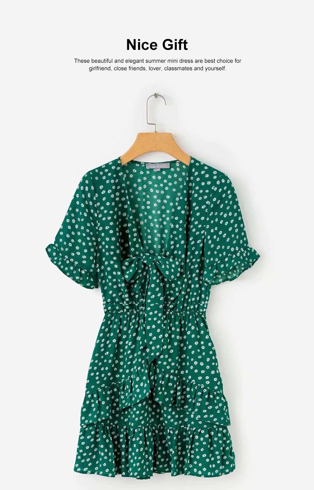 Women Summer Mini Dress, Ruffle Sleeve Floral Print V-neck Dress, High Waisted A Line Beach Dresses for Women 1