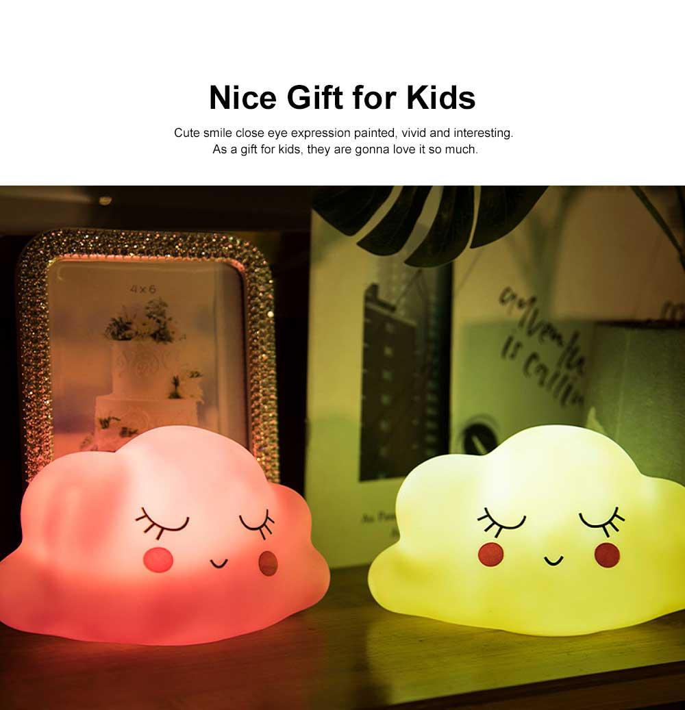 LED Cloud Shape Smile Night Light, Warm Lighting Colorful Bed Side Lights, Home Decor for Kids Baby Nursery Living Room Dorm 1