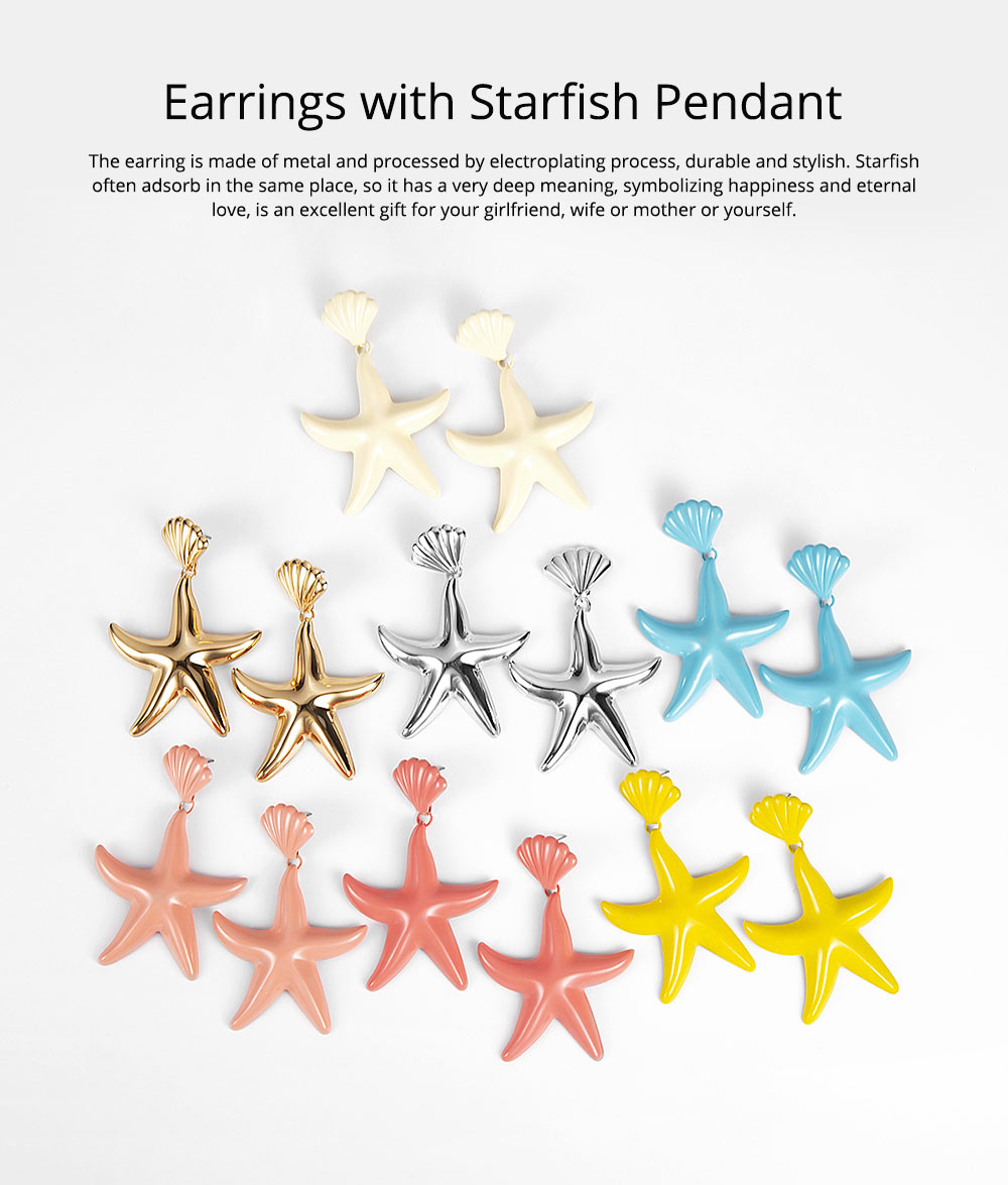 Women Earrings with Starfish Pendant, Starfish Stud Earrings, Shell Earring Fashion Ornament Suit for Travel Holiday Theme Parties 0