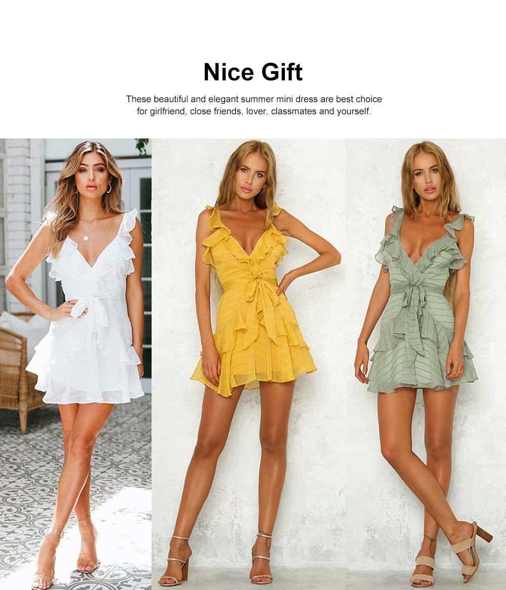 Women Summer Mini Dress Ruffle V-neck Side Split Sleeveless Boho Dress High Waist Tie A Line Sweat Beach Dresses Best Gifts for Women 1