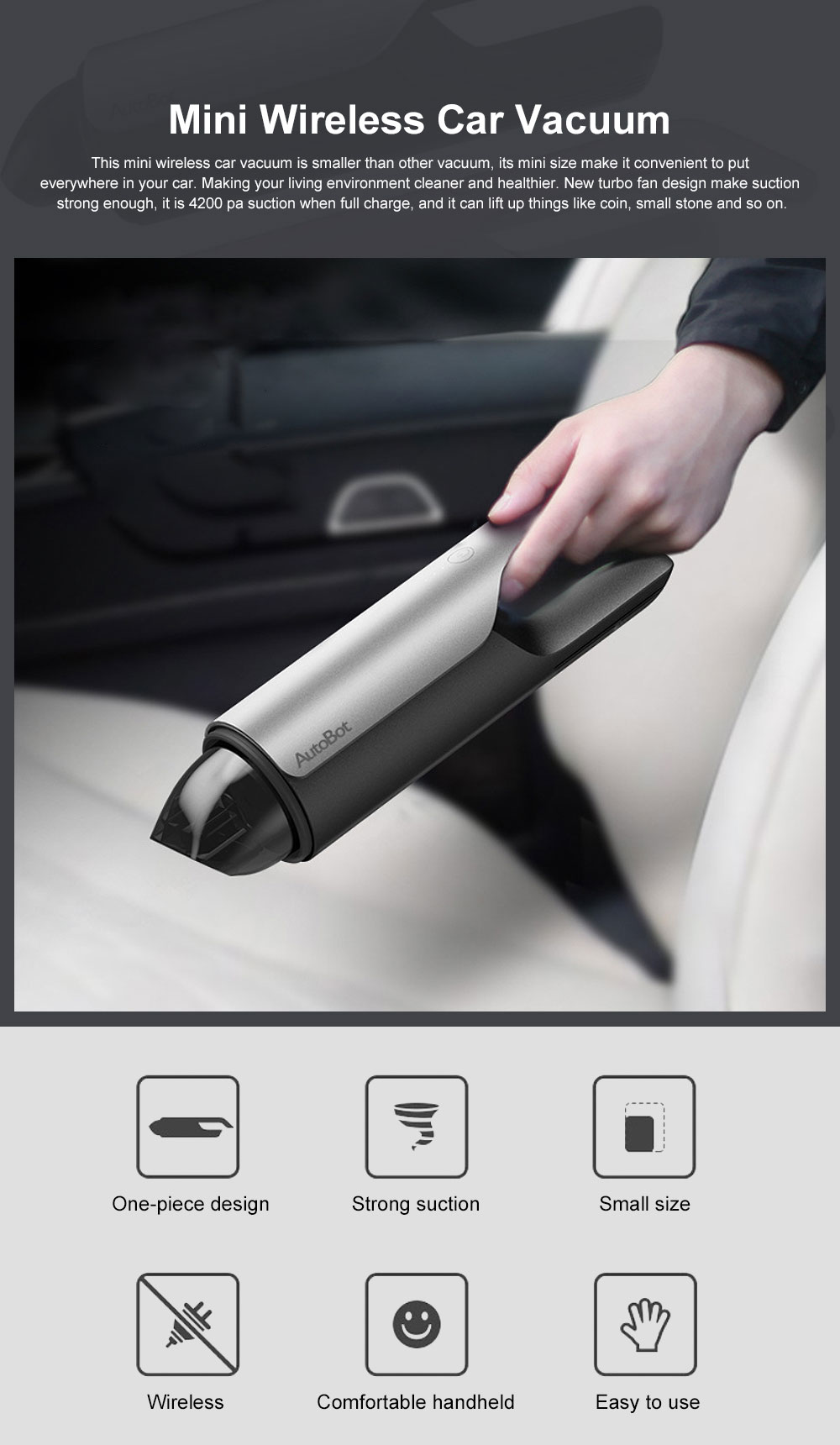 Mini Wireless Car Vacuum HEPA Filter Smart Car Cleaner with Strong Suction Handheld Car Cleaning Machine 0
