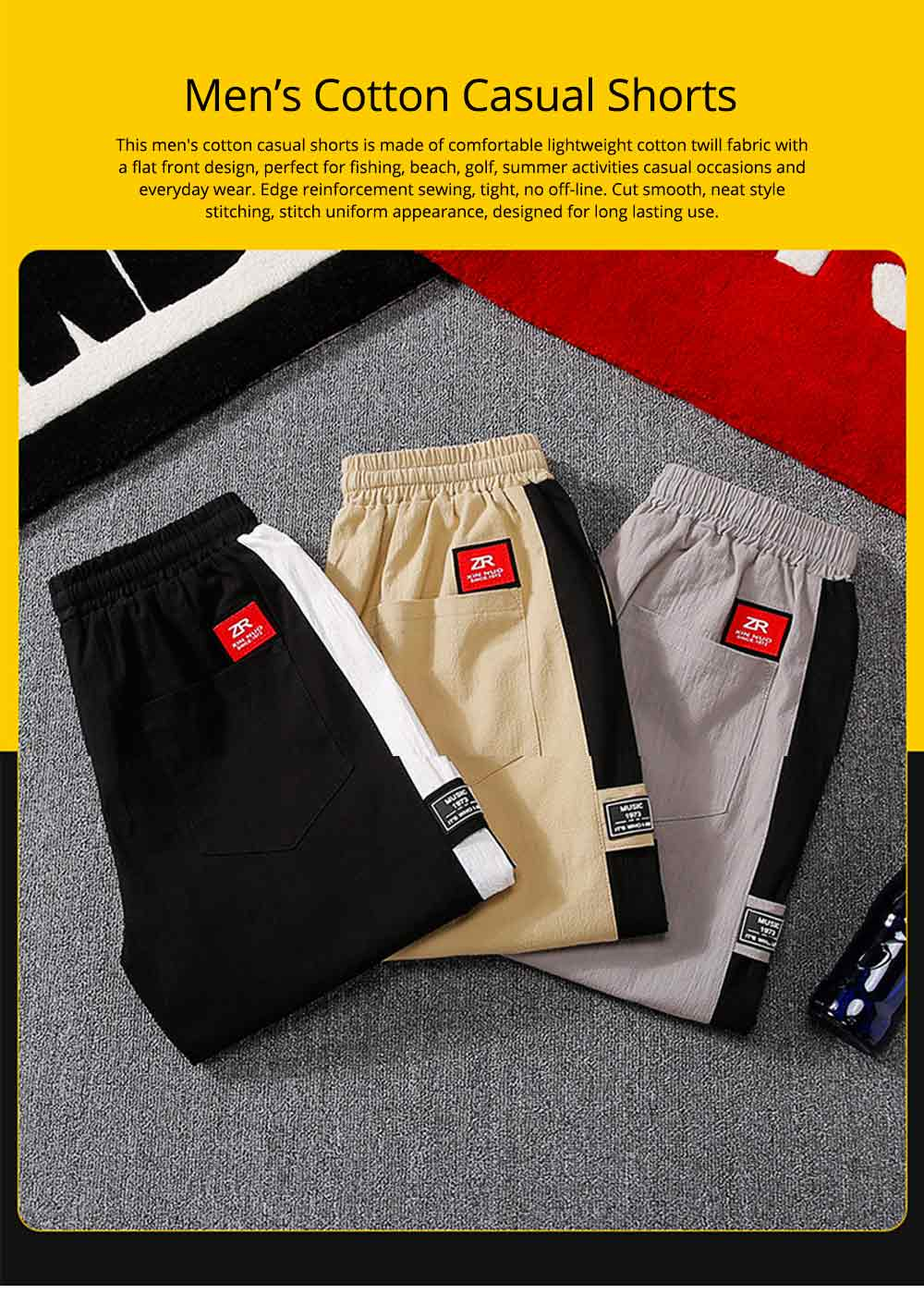 Men's Cotton Casual Shorts with Elastic Waist Drawstring, Classic Fit Short Summer Beach Shorts for Youth Men 0