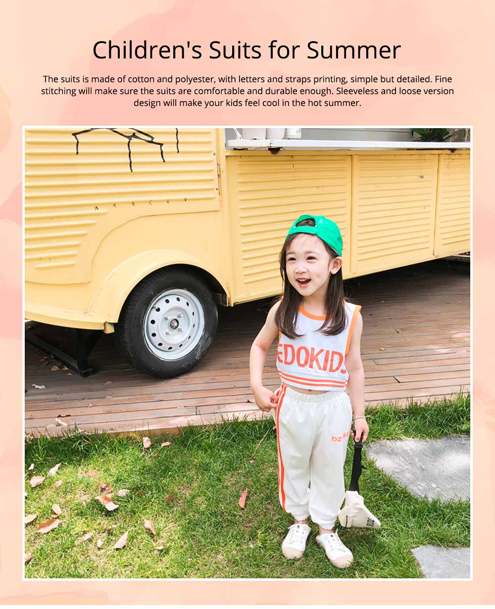 Children's Summer Suits, Printed Vest & Slacks 2-piece Set, Girls Sleeveless Top with Trousers 0