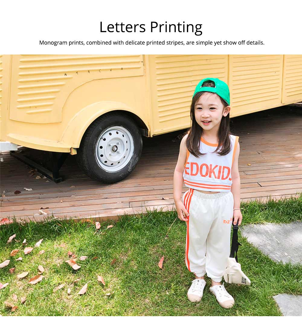 Children's Summer Suits, Printed Vest & Slacks 2-piece Set, Girls Sleeveless Top with Trousers 3