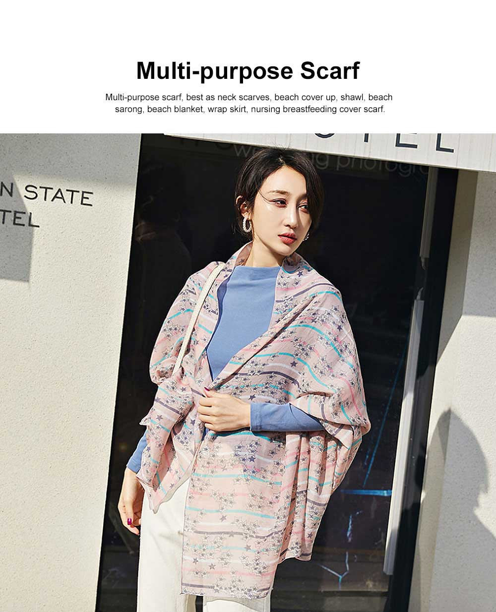 Women Cotton Linen Scarves Wild Print Sunscreen Beach Cover-up Shawl Fashion Accessories Best Gifts for women 3