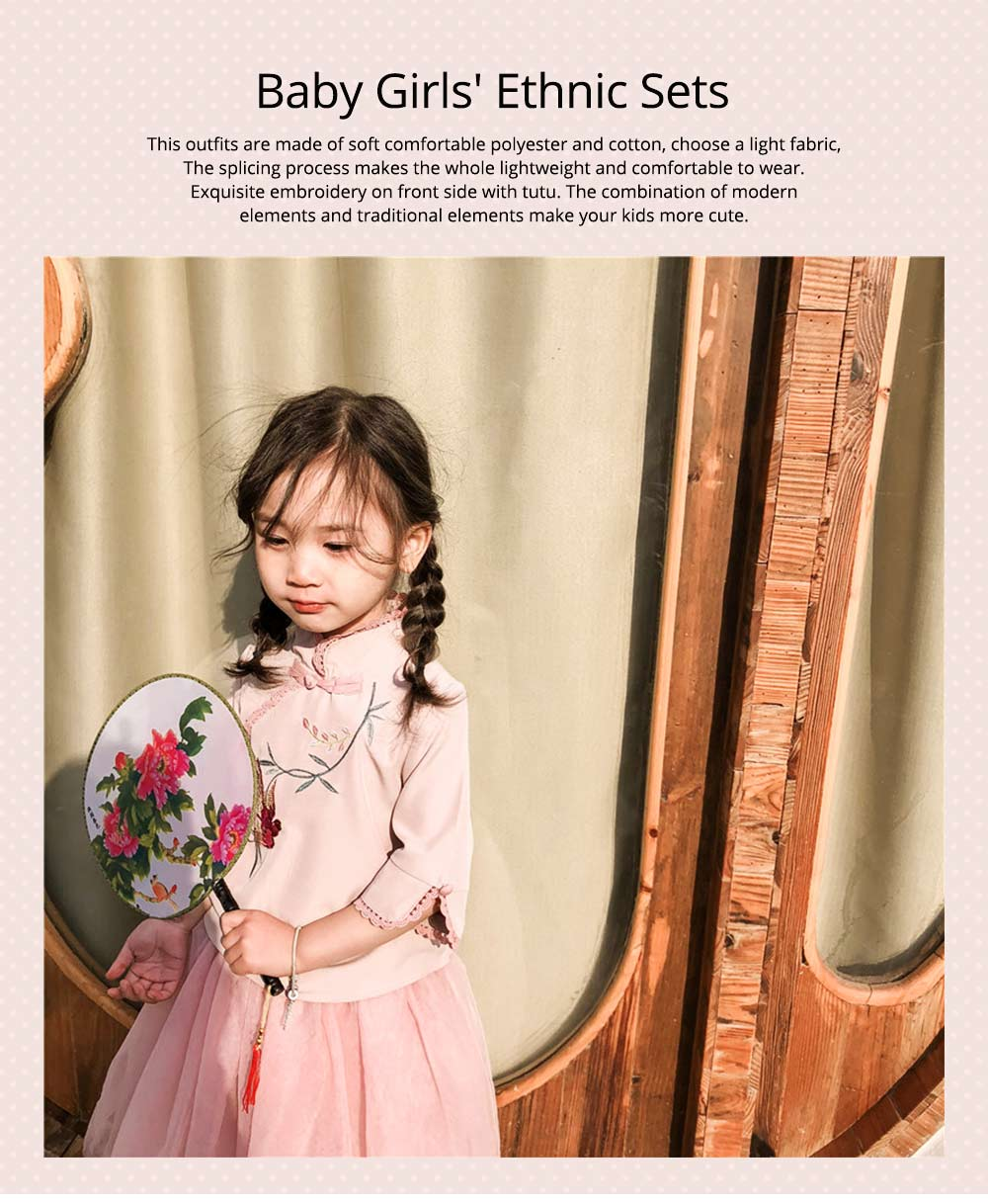 Baby Girls' Ethnic Sets Two-Piece Improved Hanfu Traditional Costume Stand Collar Embroidered Tops + Skirt 0