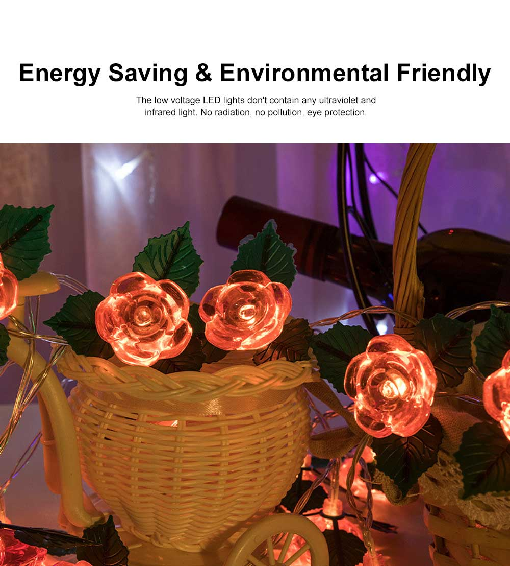 LED Rose Flower String Lights Copper Wire Battery Operated Lights Romantic Rose Lamp for Wedding Home Party Birthday Festival Indoor Outdoor Decorations 1