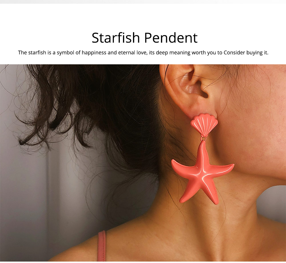 Women Earrings with Starfish Pendant, Starfish Stud Earrings, Shell Earring Fashion Ornament Suit for Travel Holiday Theme Parties 1