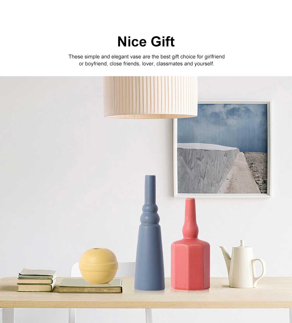 Ceramic Flower Pot Vase Matte Frosted Flower Pot Long & Short Pure Color Vase for Desktop Home Decor Gifts 1