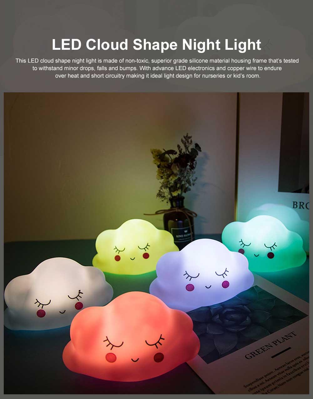 LED Cloud Shape Smile Night Light, Warm Lighting Colorful Bed Side Lights, Home Decor for Kids Baby Nursery Living Room Dorm 0