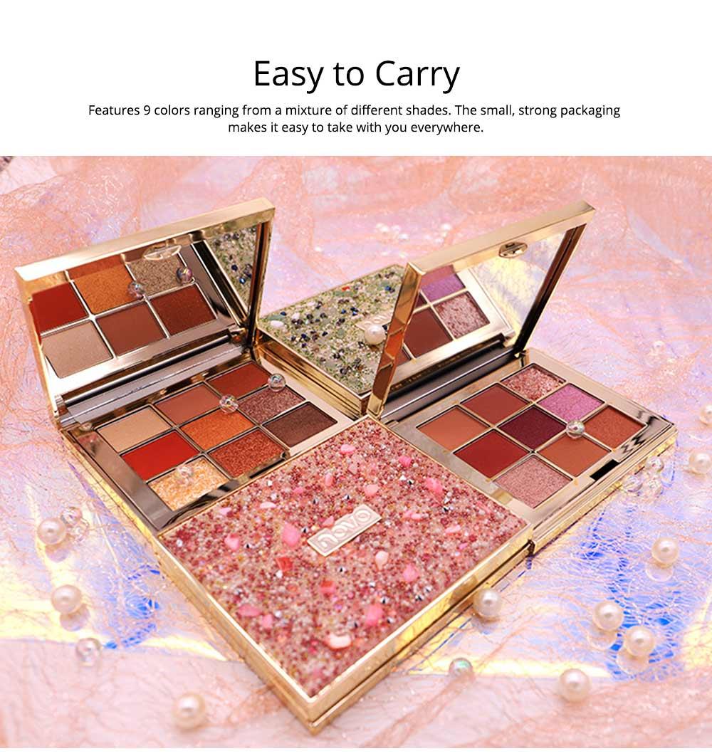 9 Colors Eyeshadow, Palette Glitter Velvet Texture Mixed Eye Makeup, Long Lasting Eye Shadow Tray Best Gift for Women 5