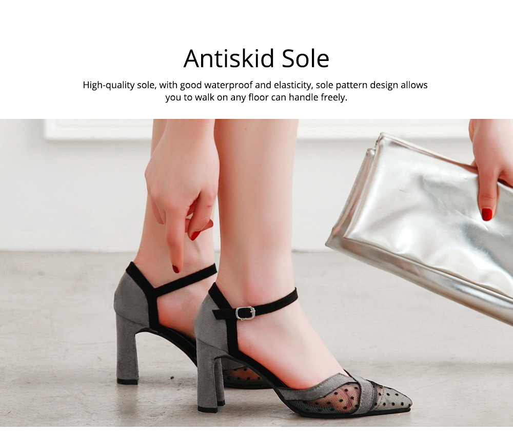 Lady Shallow Pointed Thick High Heels, One-word Buckle Hollow Single Shoe, Style Sandals 2019 Summer 4