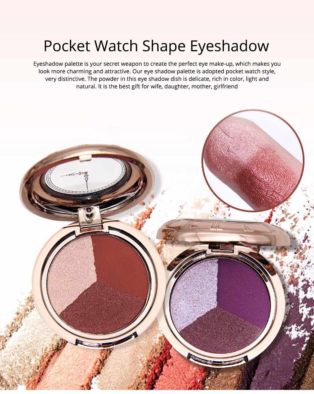 3 Colors Eyeshadow Set, Waterproof Long Lasting Makeup Eyeshadow Palette, Colorful Beauty Cosmetics 0