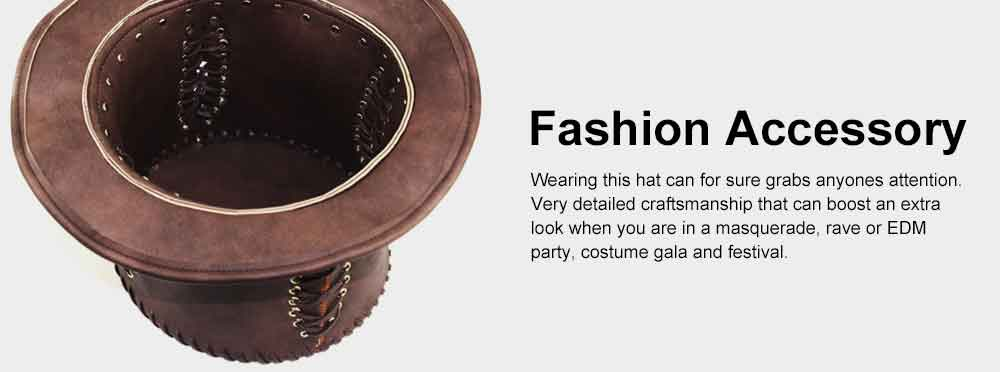 Unisex Steampunk Top Hat Retro Punk Rustic PU Leather Lace Up Punk Gentleman Hat for Costumes, Halloween Party 5