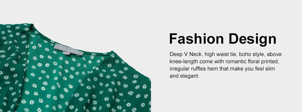 Women Summer Mini Dress, Ruffle Sleeve Floral Print V-neck Dress, High Waisted A Line Beach Dresses for Women 3