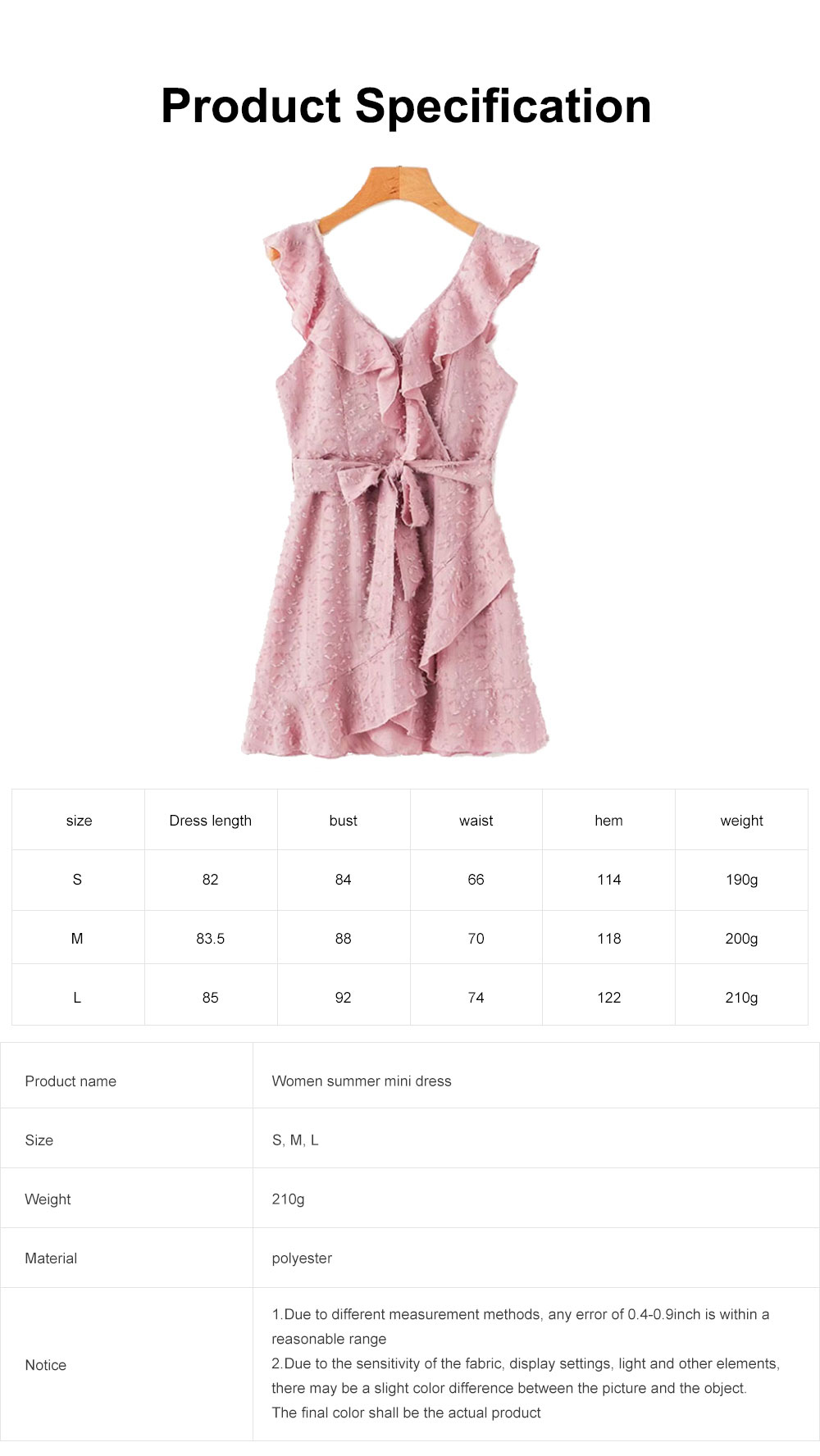 Women Summer Mini Dress, Ruffle V-neck Side Split Dress High Waisted, Beach Dresses for Women 6