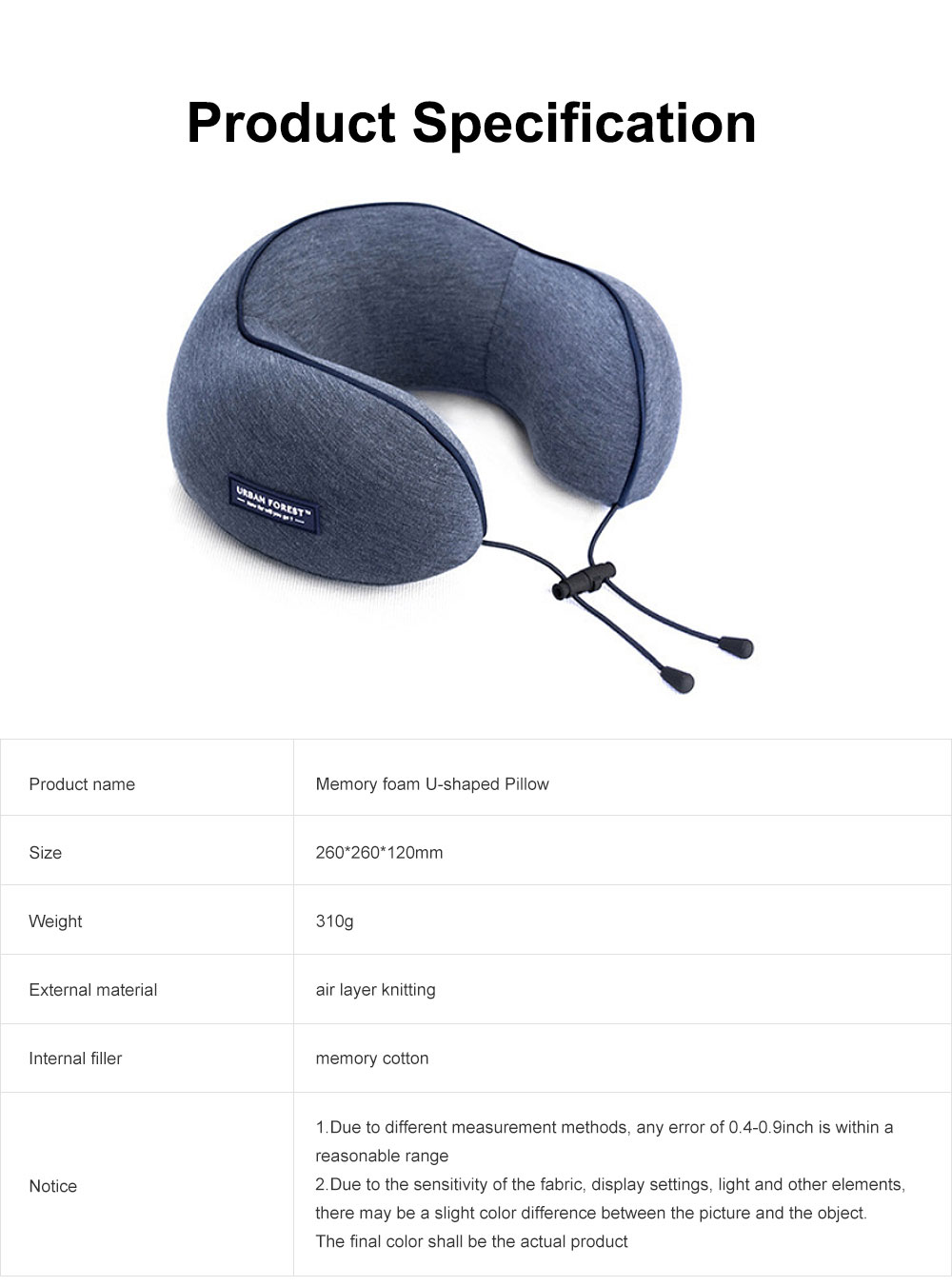 Memory Foam U-Shaped Pillow Comfortable Breathable Neck Pillow Travel Pillow for Home Car Airplane 6