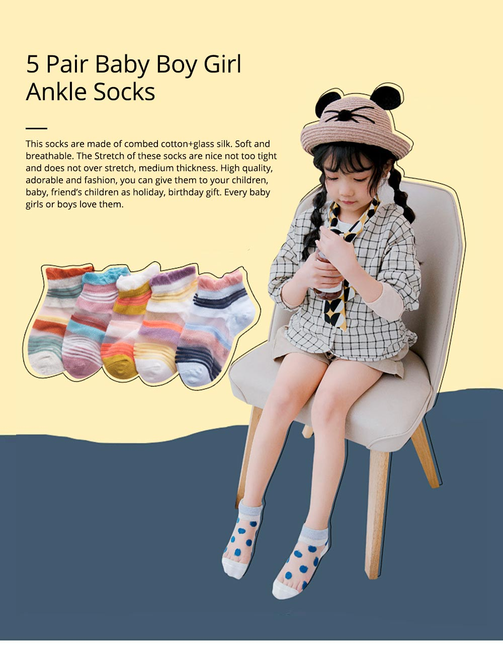 5 Pairs Baby Boy Girl Ankle Socks, Anti Slip Non Skid Breathable Cotton Summer Socks, Cute Cat Pattern Kids Accessories 0