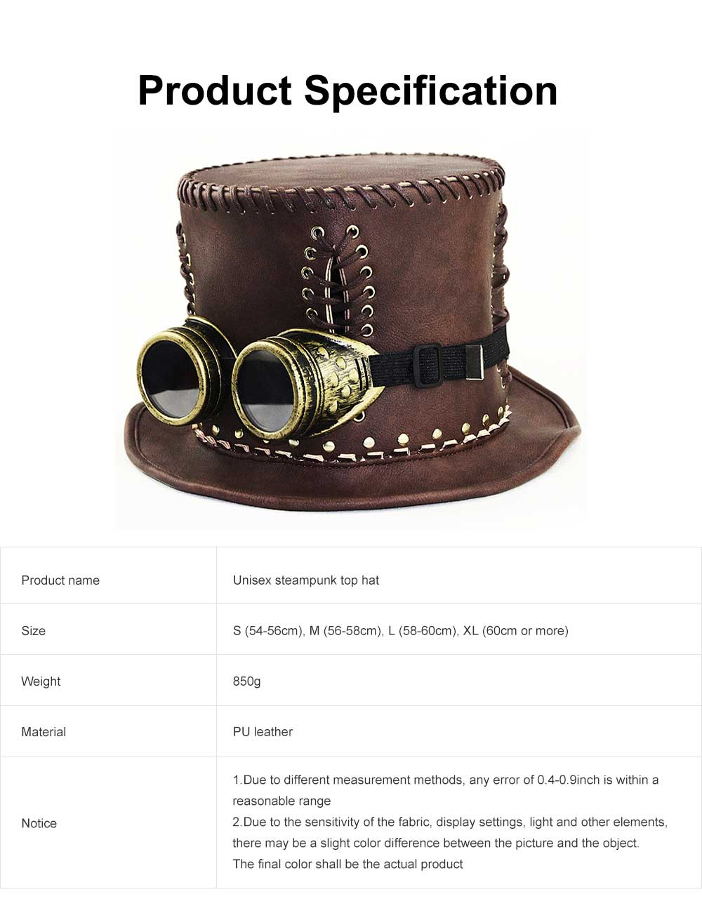 Unisex Steampunk Top Hat Retro Punk Rustic PU Leather Lace Up Punk Gentleman Hat for Costumes, Halloween Party 6