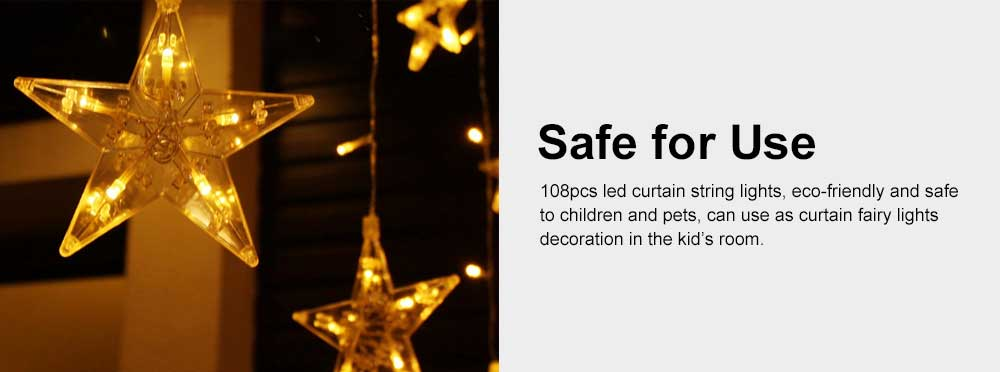 Star Curtain Light String Power Saving Waterproof IP65 LED Decor Lights 108 LED Star String Lights 8 Modes Stars Shaped String Lights with Remote for Indoor Outdoor 5