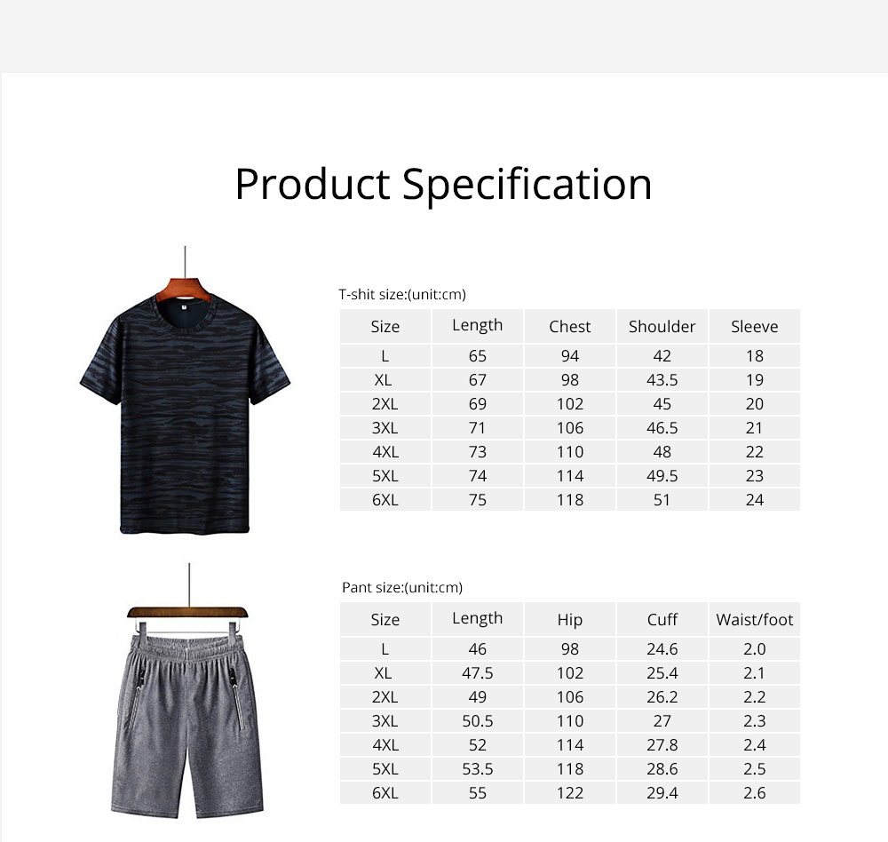 Men's 2-Piece Sports Sets, Quick-dry Sport Outfits, Casual Short Sleeve Tops + Short Pants Tracksuit for Men 6
