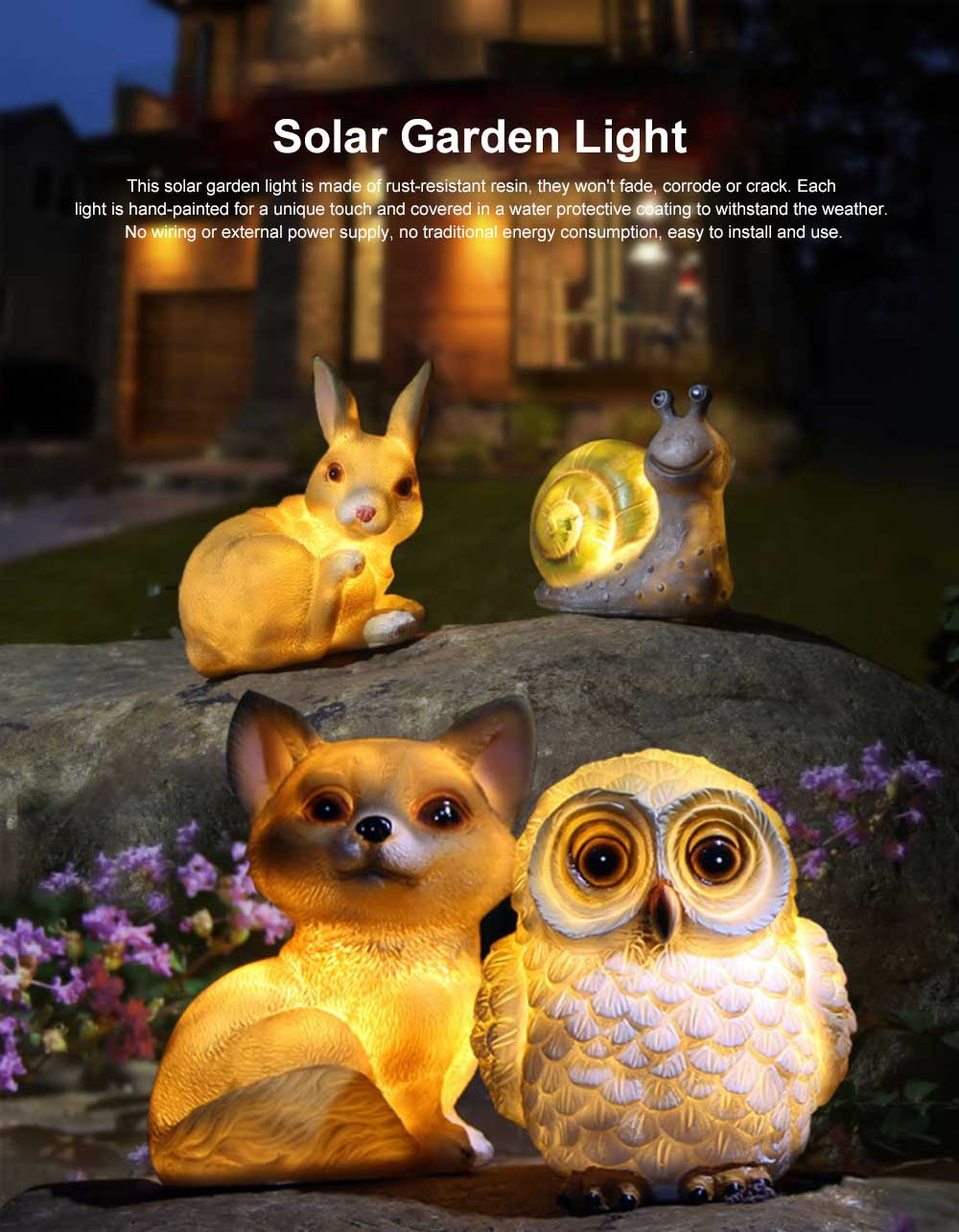 Solar Garden Light Animal LED Lamp Waterproof Outdoor Lights Ornament for Garden, Lawn, Aisle, Porch, Courtyard or Tent 0