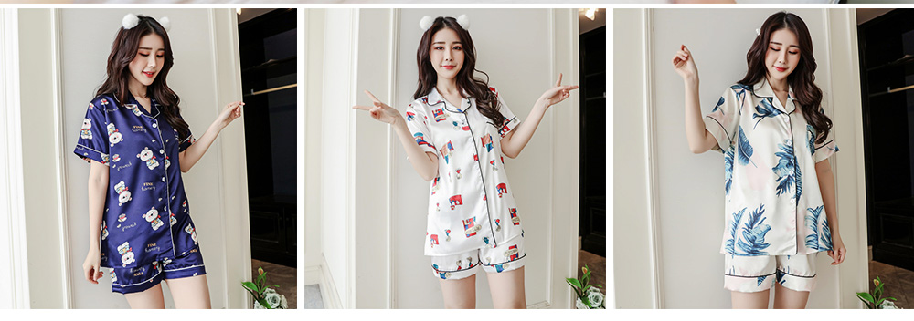 Women Summer Pajamas, Open-top Lapel Silk-like Short Sleeves, Printed Household Clothing for Lady Girl 5