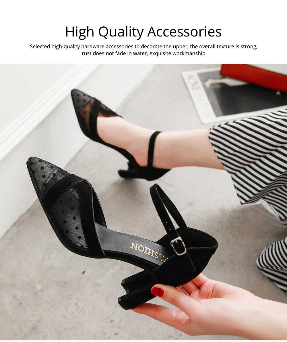 Lady Shallow Pointed Thick High Heels, One-word Buckle Hollow Single Shoe, Style Sandals 2019 Summer 3