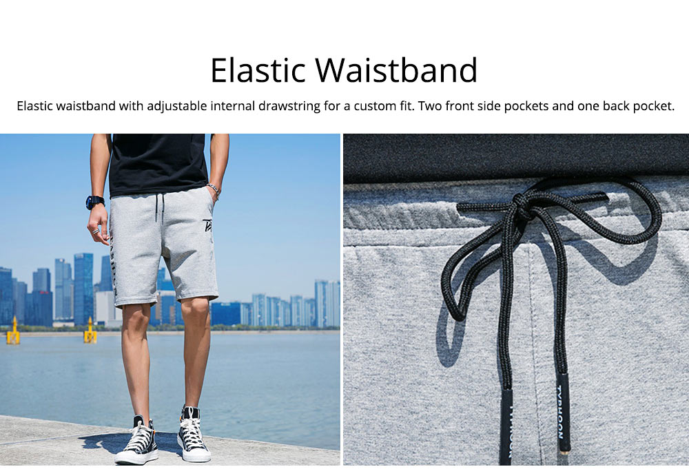Men Summer Short Pants with Pockets, Causal Beach Shorts with Elastic Waist Drawstring, Lightweight Loose Shorts 2
