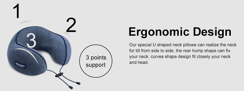 Memory Foam U-Shaped Pillow Comfortable Breathable Neck Pillow Travel Pillow for Home Car Airplane 3