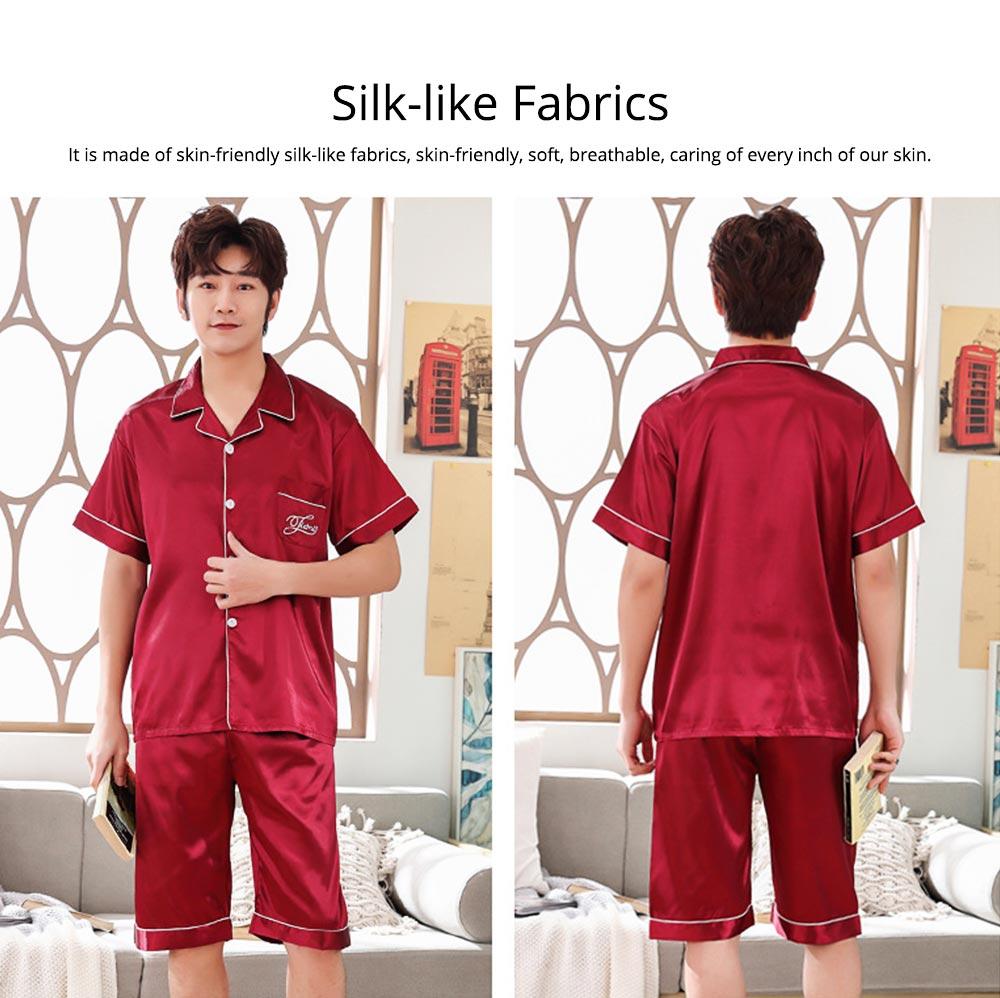 Summer Opener Collar Men's Wear 2019, Simulated Silk Short Sleeve Short Pants Home Suit 5