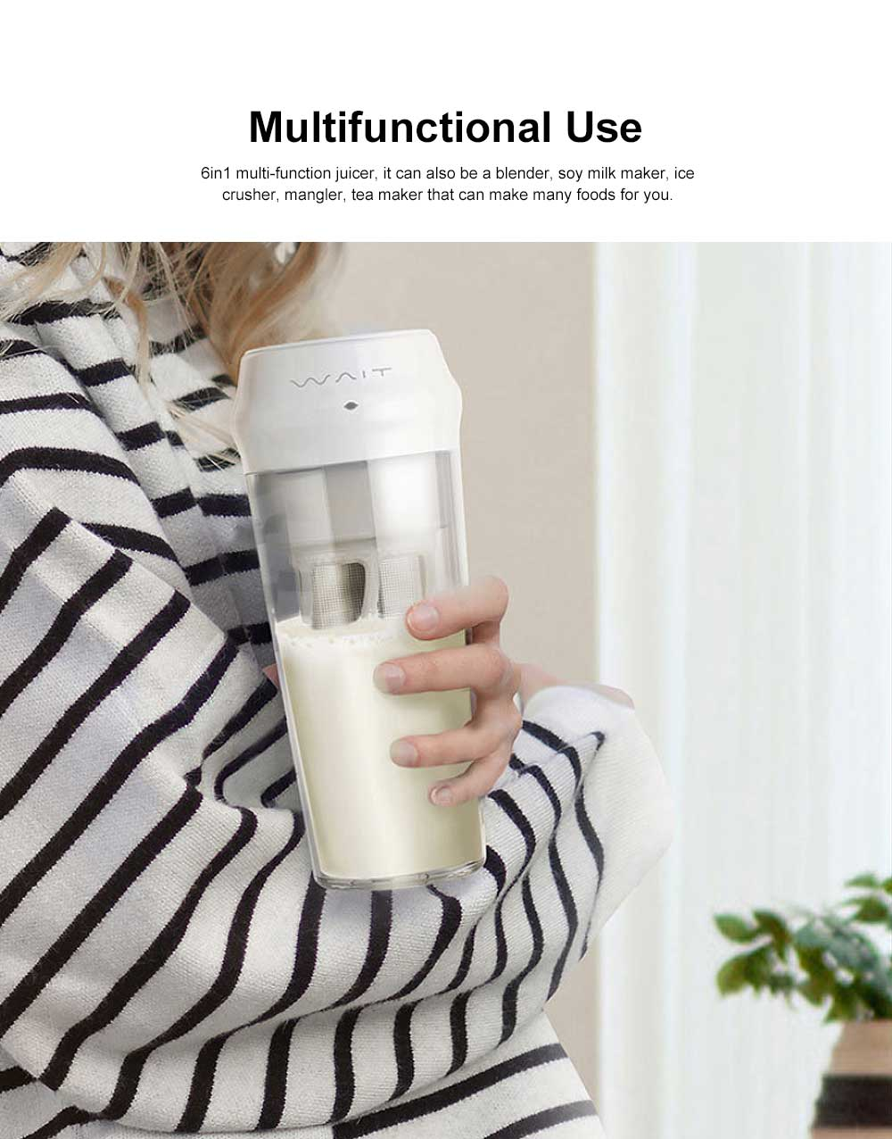 Portable Juicer Cup 6 in 1 Multifunctional Fruit Mixing Machine Blender Mini Juice Mixer with Powerful Motor 2