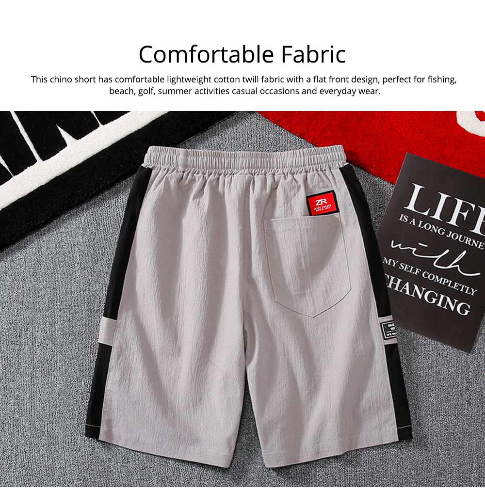 Men's Cotton Casual Shorts with Elastic Waist Drawstring, Classic Fit Short Summer Beach Shorts for Youth Men 3