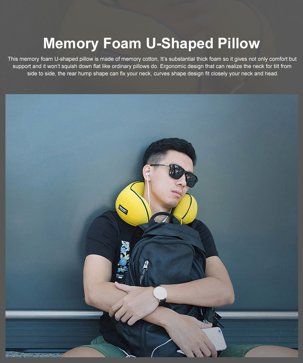 Memory Foam U-Shaped Pillow Comfortable Breathable Neck Pillow Travel Pillow for Home Car Airplane 0