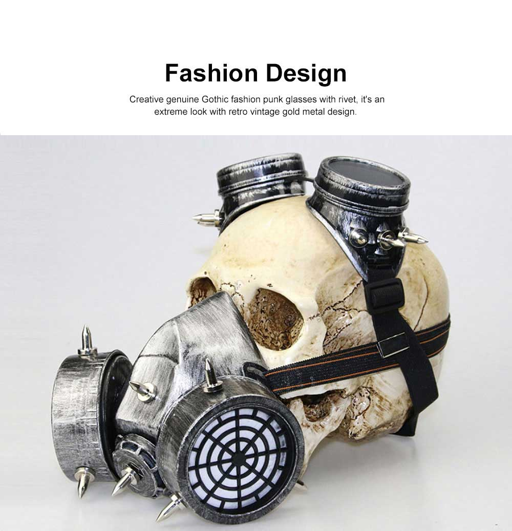 Steampunk Gas Mask Rivet Goggles Resin Skeleton Warrior Death Mask Masquerade Cosplay Accessories for Halloween Party Gift 3