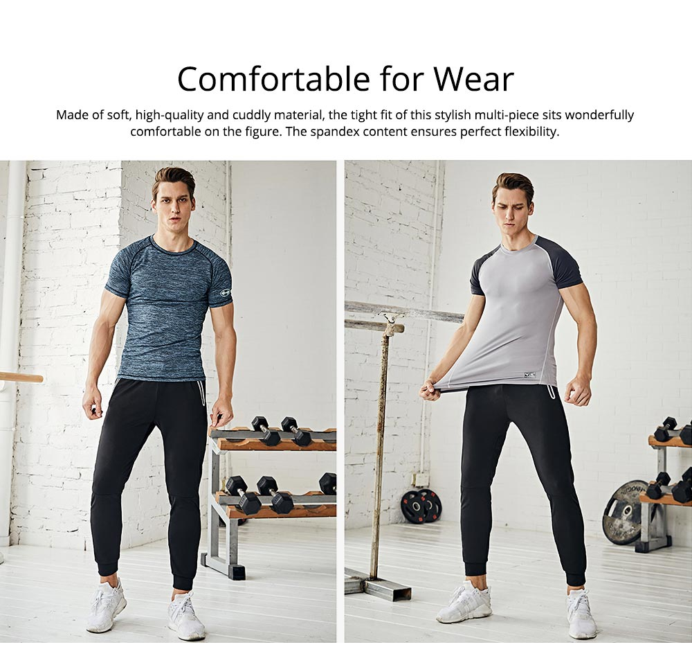 Men's 2-Piece Sports Outfit, Sport Casual Short Sleeve Tops + Short Pants, Men's Sports Tracksuit  1