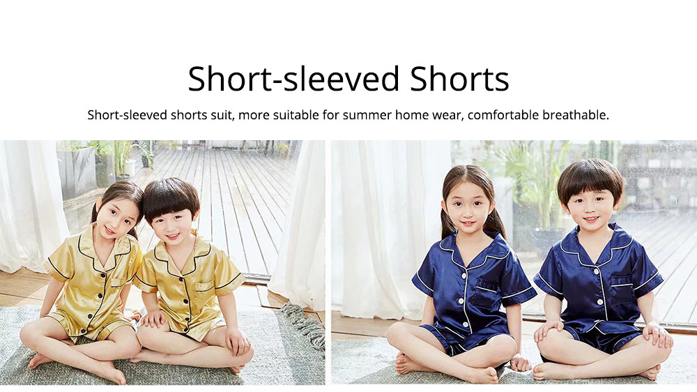 Summer Minimalist Pajamas Suit for Boys Girls, Open Shirts and Lapels Nightclothes, Silk-like Household Suit 5
