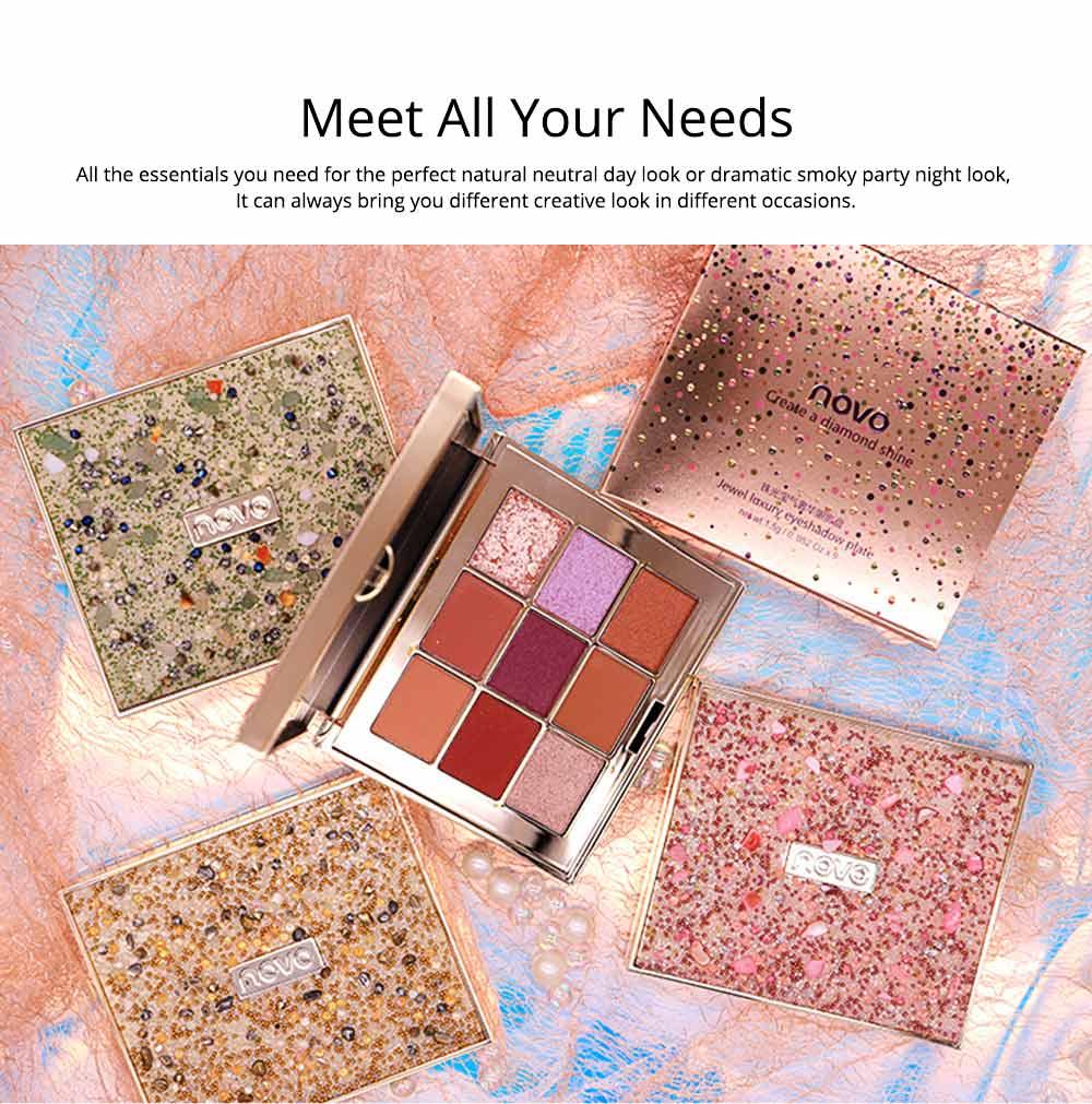 9 Colors Eyeshadow, Palette Glitter Velvet Texture Mixed Eye Makeup, Long Lasting Eye Shadow Tray Best Gift for Women 6