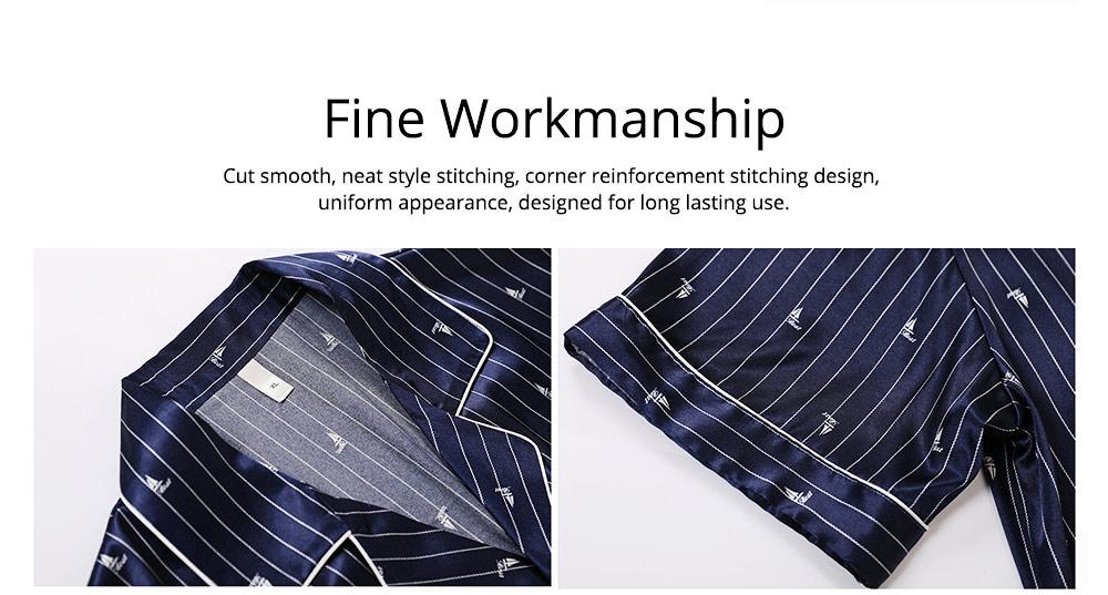Men's Luxury Silk Sleepwear Short Sleeve Top+Long Pant Pajamas Set Soft Loungewear Men Gifts for Summer Wear 4
