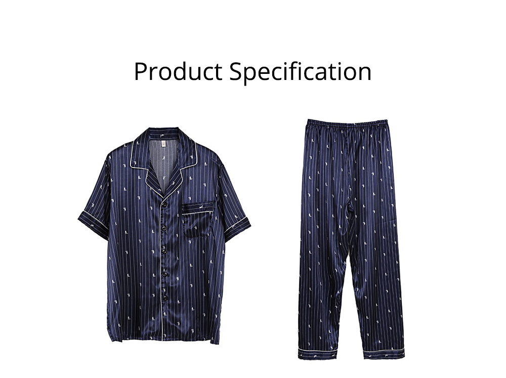 Men's Luxury Silk Sleepwear Short Sleeve Top+Long Pant Pajamas Set Soft Loungewear Men Gifts for Summer Wear 7
