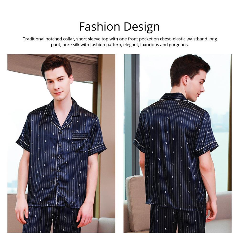 Men's Luxury Silk Sleepwear Short Sleeve Top+Long Pant Pajamas Set Soft Loungewear Men Gifts for Summer Wear 2